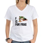 F Is For Frog Women's V-Neck T-Shirt