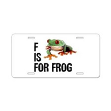 F Is For Frog Aluminum License Plate