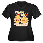 Mayo love Women's Plus Size V-Neck Dark T-Shirt