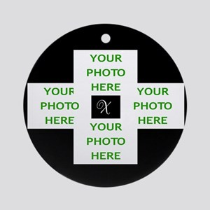 MONOGRAM OR BLANK WITH 4 PHOTOS Round Ornament
