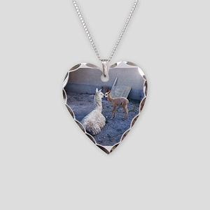mom and baby llama Necklace Heart Charm