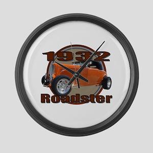 1932 Ford Roadster Orange Cra Large Wall Clock