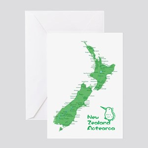 New Zealand Map Greeting Card