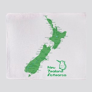 New Zealand Map Throw Blanket
