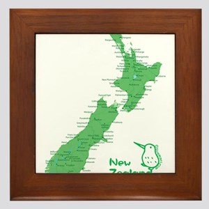 New Zealand Map Framed Tile