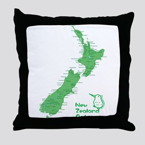 New Zealand Map Throw Pillow