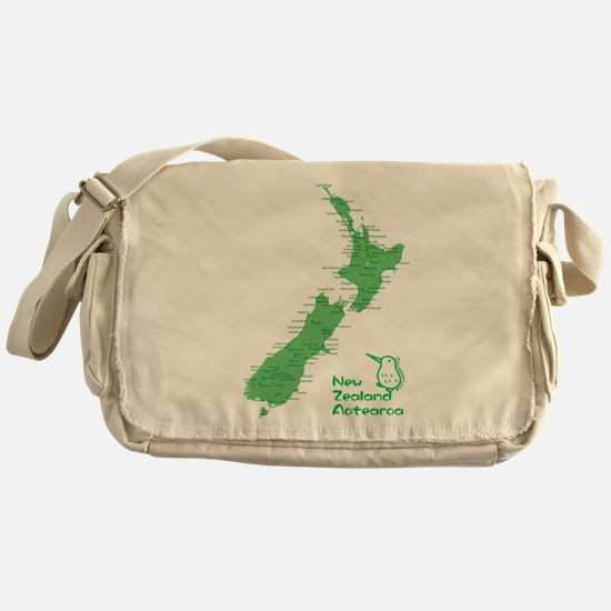 New Zealand Map Messenger Bag