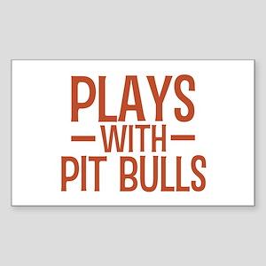 PLAYS Pit Bulls Sticker (Rectangle)