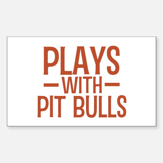 PLAYS Pit Bulls Sticker (Rectangle)