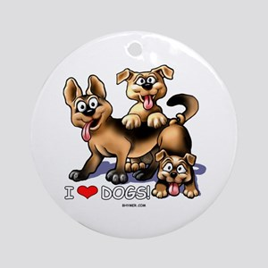 I Love Dogs Ornament (Round)