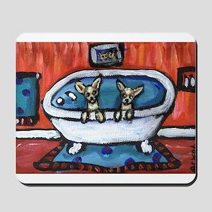 chihuahua bath red bathroom Mousepad