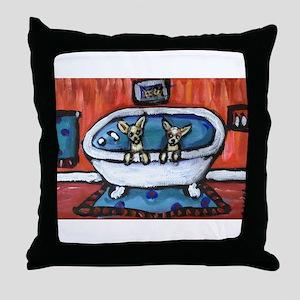chihuahua bath red bathroom Throw Pillow