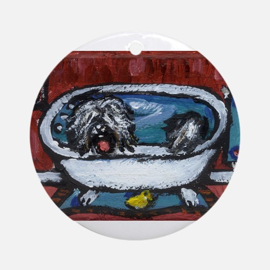 TIBETAN TERRIER red bathroom Ornament (Round)