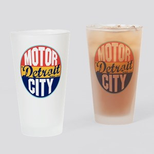 Detroit Vintage Label Drinking Glass