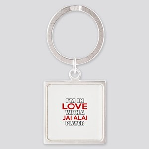 I Am In Love With Jai Alai Player Square Keychain