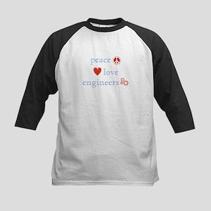 Peace, Love and Engineers Kids Baseball Jersey