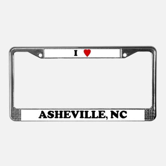 I Love Asheville License Plate Frame