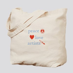 Peace, Love and Artists Tote Bag