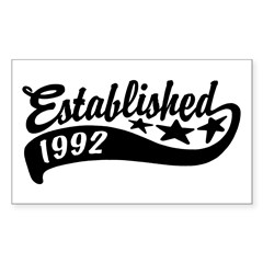 Established 1992 Sticker (Rectangle)