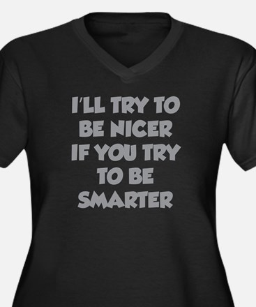 Be Smarter Women's Plus Size V-Neck Dark T-Shirt