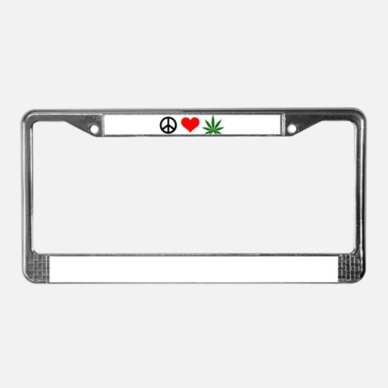 Peace Love Marijuana License Plate Frame