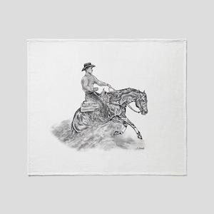 Reining Horse drawing Throw Blanket