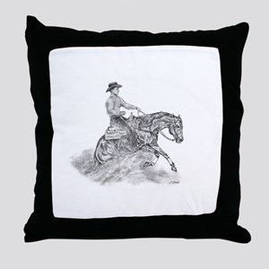 Reining Horse drawing Throw Pillow
