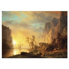 Sunset in the Rockies (oil on canvas) Poster