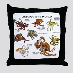 Octopus of the World Throw Pillow