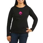 Women's Long Sleeve Black Caution Curves Ahead T