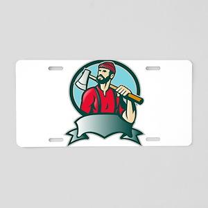 lumberjack woodcutter Aluminum License Plate