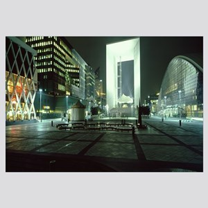 Buildings lit up at night, La Defense Business Cen