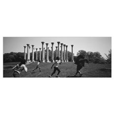 Four children playing in a park, Capitol Columns,  Poster