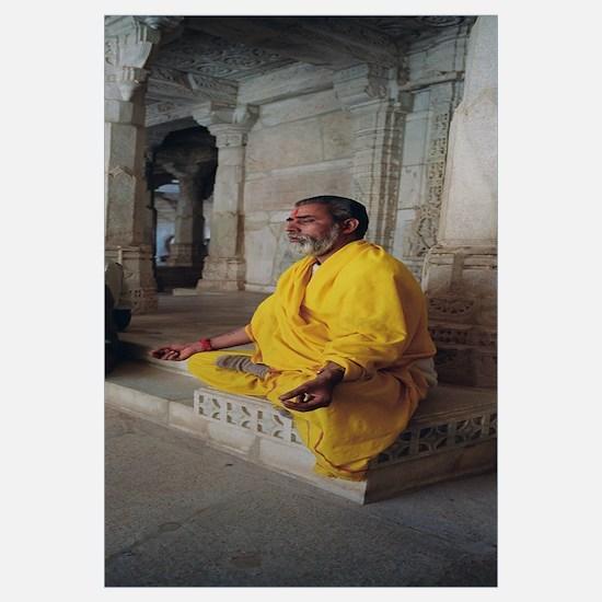 Side profile of a priest praying, Ranakpur Jain Te