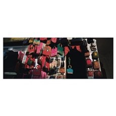 Low angle view of purses hanging in a store, Udaip Poster