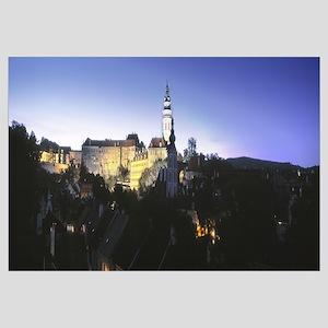Castle lit up at dusk, Cesky Krumlov Castle, Cesky