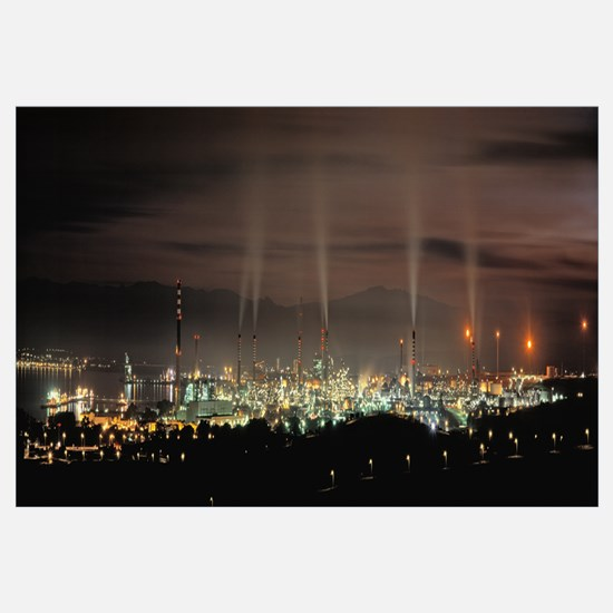 High angle view of oil refinery at lit up at night