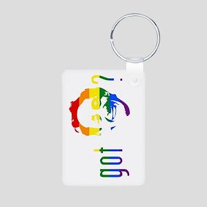 Rainbow Harvey Milk Aluminum Photo Keychain