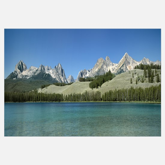Mountains along a lake, Sawtooth Mountains, Idaho