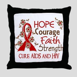 Hope Courage Faith AIDS Throw Pillow