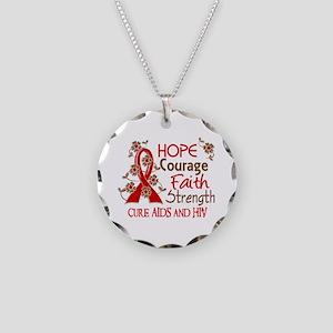 Hope Courage Faith AIDS Necklace Circle Charm