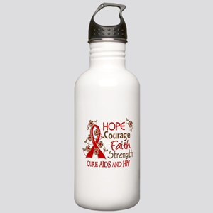 Hope Courage Faith AIDS Stainless Water Bottle 1.0