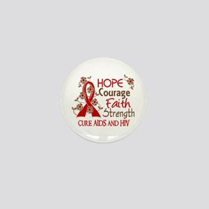 Hope Courage Faith AIDS Mini Button