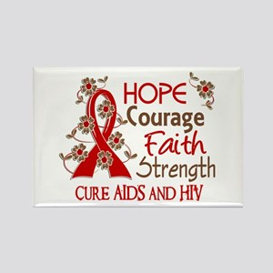 Hope Courage Faith AIDS Rectangle Magnet