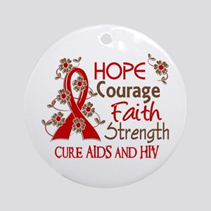 Hope Courage Faith AIDS Ornament (Round)