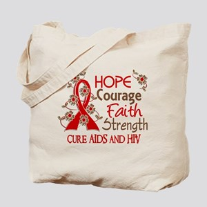 Hope Courage Faith AIDS Tote Bag