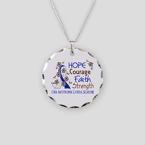 Hope Courage Faith ALS Necklace Circle Charm