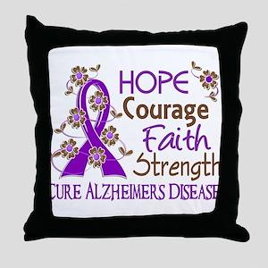 Hope Courage Faith Alzheimers Throw Pillow