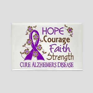 Hope Courage Faith Alzheimers Rectangle Magnet