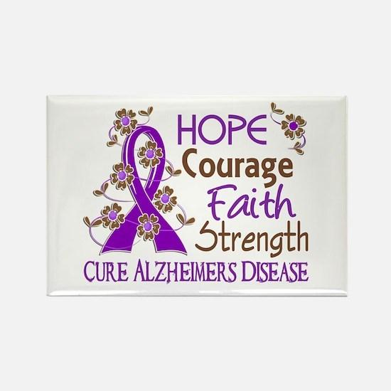 Hope Courage Faith Alzheimers Rectangle Magnet